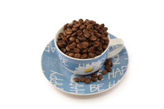 蓝色杯子茶碟白色 库存图片