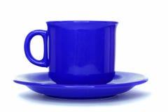 蓝色杯子茶碟 免版税库存照片