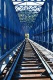 蓝色架桥列车 免版税图库摄影