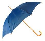 蓝色查出的伞 库存照片
