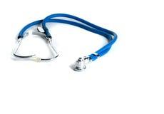 蓝色查出的听诊器白色 库存照片