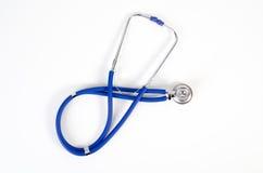 蓝色查出的听诊器白色 免版税库存照片