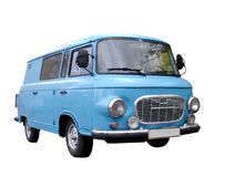蓝色查出的微型货车 免版税库存照片