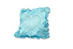 蓝色查出的枕头 免版税图库摄影