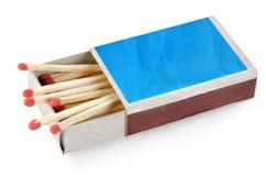 蓝色查出的火柴盒 图库摄影