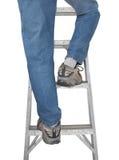 蓝色查出的牛仔裤梯子行程 免版税库存图片
