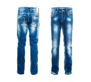 蓝色查出的牛仔裤 免版税库存图片