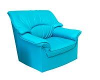 蓝色查出的皮革沙发白色 免版税库存照片