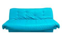 蓝色查出的皮革沙发白色 免版税图库摄影