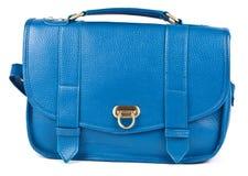 蓝色查出的皮革钱包s白人妇女 库存图片