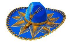 蓝色查出的mexicano精密阔边帽 库存照片