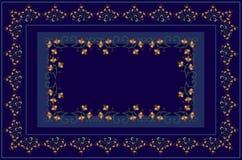 蓝色树荫桌布wlth被绣curlicues和分支用桔子、风格化花和弯曲的叶子 免版税图库摄影