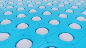 蓝色样式白色球抽象背景,3D例证 库存例证