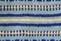 蓝色样式被编织的织品背景纹理由棉花制成 库存照片
