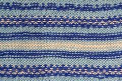 蓝色样式被编织的织品背景纹理由棉花制成 免版税库存图片