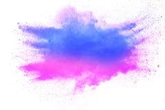 蓝色桃红色粉末爆炸的异常的形式在白色背景的 图库摄影