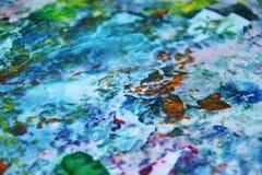 蓝色桃红色绿色橙黄绘画背景,水彩五颜六色的抽象背景 图库摄影