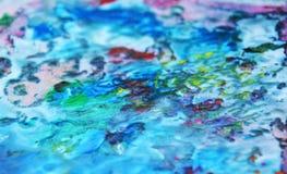 蓝色桃红色绿色黄色紫罗兰色橙色桃红色混合颜色,绘察觉背景,水彩五颜六色的抽象背景 库存图片