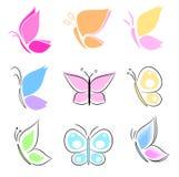 蓝色框蝴蝶蝴蝶收集红色 库存图片