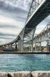 蓝色桥梁加拿大sarnia水 图库摄影