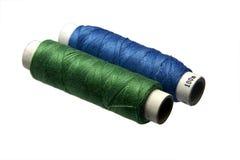 蓝色棉花绿色线程数 免版税库存照片