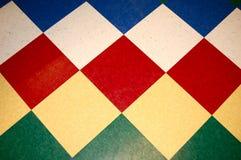 蓝色棋盘楼层绿色红色瓦片黄色 库存照片