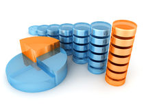 蓝色棒和饼图绘制与橙色零件 免版税图库摄影