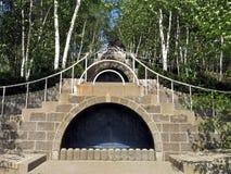 蓝色楼梯Naumkeag 19世纪80年代国家庄园施托克伯雷杰麻省Berkshir 免版税库存图片