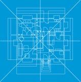 蓝色楼面布置图,例证 免版税库存图片
