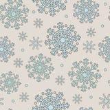 蓝色模式无缝的雪花 库存例证