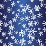 蓝色模式无缝的雪花 免版税库存图片