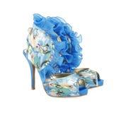 蓝色模式穿上鞋子时髦 库存图片