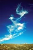 蓝色横向山天空 免版税库存图片