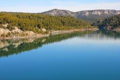 蓝色横向山河 库存照片