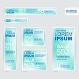 蓝色横幅广告模板设计 免版税库存照片
