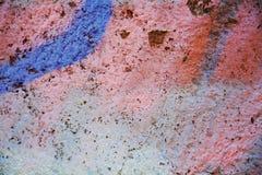 蓝色橙色桃红色街道画墙壁背景,在威尼斯,意大利 库存照片