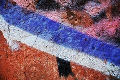 蓝色橙色街道画墙壁背景,在威尼斯,意大利 库存照片