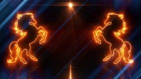 蓝色橙色霓虹抚养的马介绍商标给loopable的背景赋予生命 库存例证