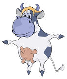 蓝色母牛 动画片 免版税图库摄影