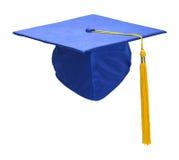蓝色毕业帽子前面 库存图片
