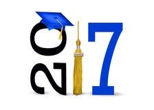 蓝色毕业盖帽在2017年 库存照片