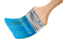 蓝色毛刷油漆vith 免版税库存图片