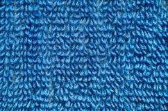 蓝色毛巾纹理特写镜头 免版税库存图片