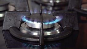 蓝色气体火焰,燃烧的气体,厨灶燃烧器 影视素材