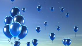 蓝色气球在天空背景中 免版税图库摄影
