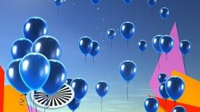 蓝色气球在天空背景中 免版税库存图片