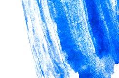 蓝色水彩油漆纹理  水平的水彩背景 免版税图库摄影