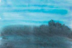 蓝色水彩被绘的背景纹理 免版税库存图片