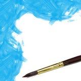 蓝色水彩被绘的背景 免版税图库摄影