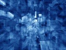 蓝色水晶万花筒反映 免版税库存图片